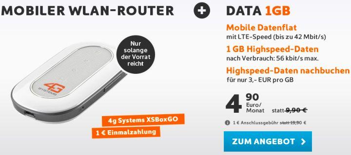 1GB-Surf-Flatrate für 4,90 Euro im Monat mit LTE + mobiler WLAN-Router für 1 Euro